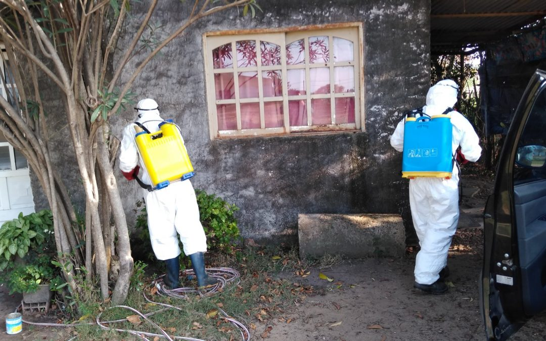 Campaña de fumigacion contra el dengue y descacharrizacion en la localidad