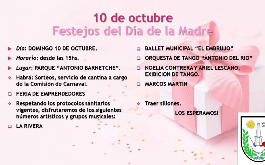 10 DE OCTUBRE- INVITACION FESTEJOS DEL DIA DE LA MADRE